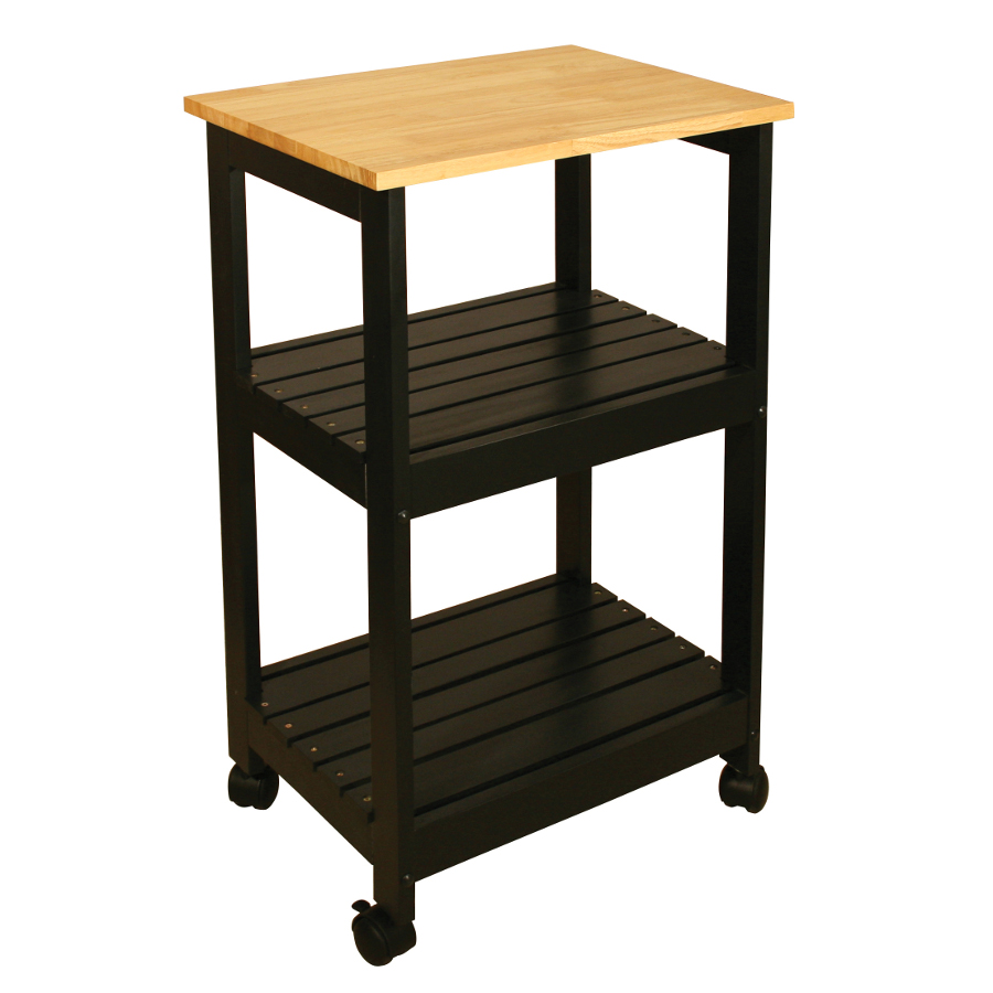 Black Kitchen Trolley with Two Slatted Shelves