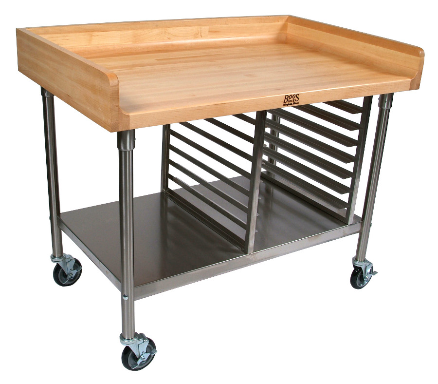 john boos bakers table with steel bun pan rack