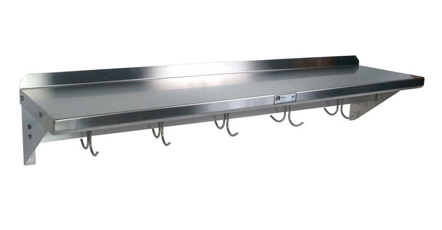 Boos Cucina Mensola Stainless Steel Shelf with Pot Rack - 24, 36, 48