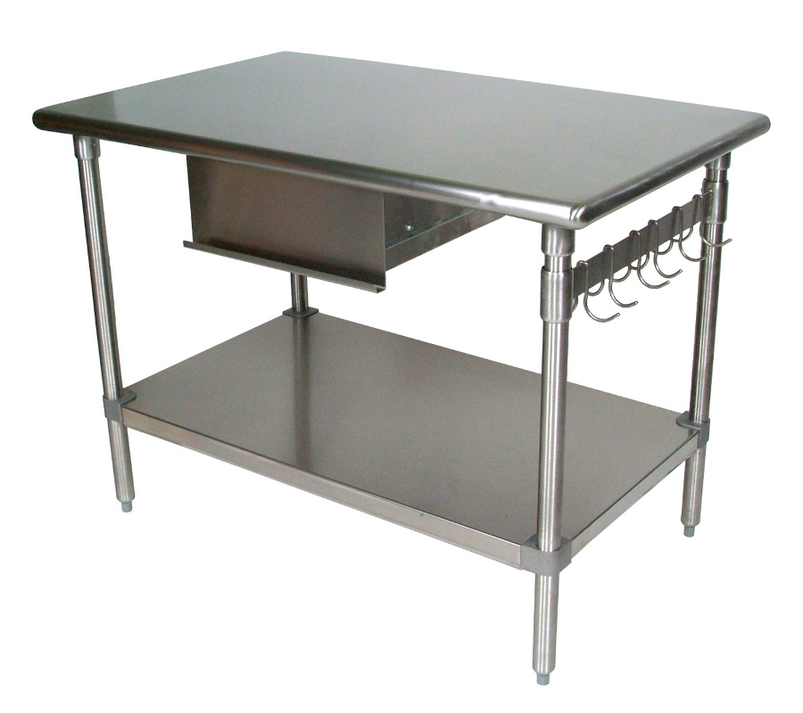 Boos Cucina Forte SS Work Table w/ Shelf, Drawer, Storage Bar & Hooks