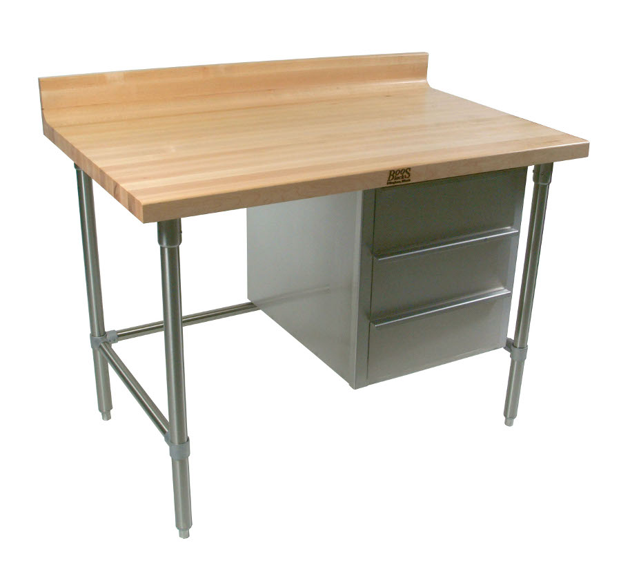 BT1S - John Boos Maple Top Baker's Table on Stainless Steel Base