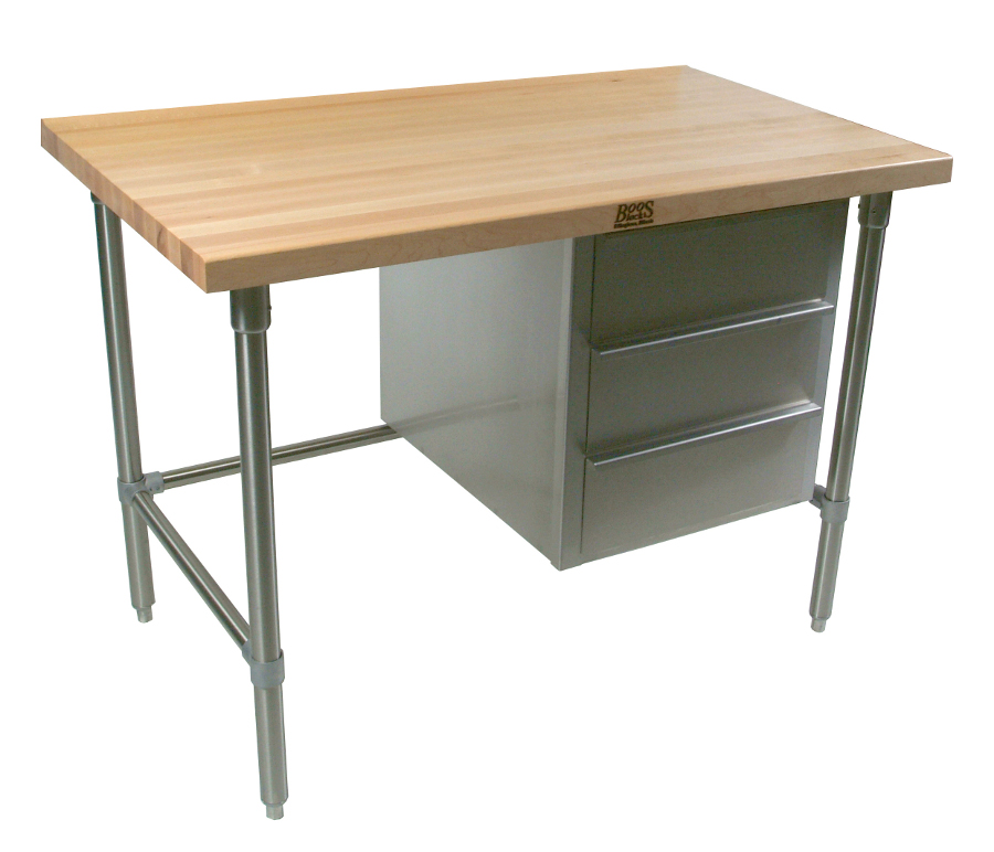 Model BTNS John Boos Flat Top Maple Baker's Utility Table