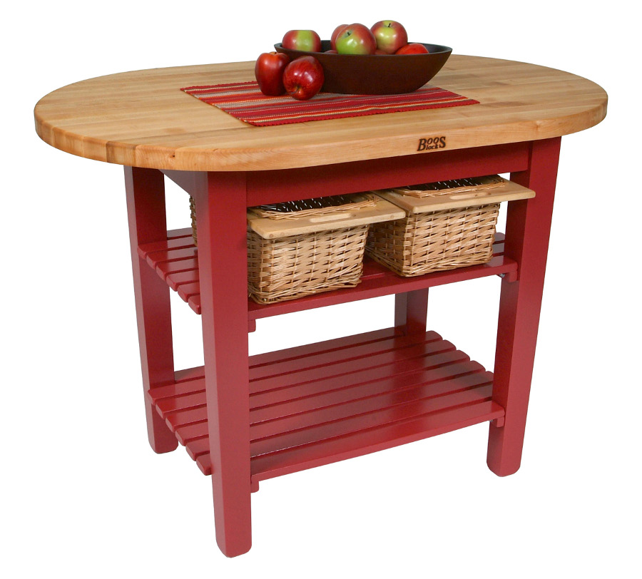 Boos C-Elip Country-Style Elliptical Butcher Block Table - 48, 60, 72
