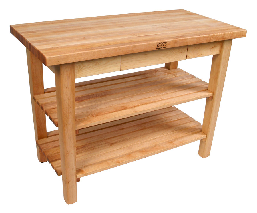 Butcher Block Work Table w 2 Shelves