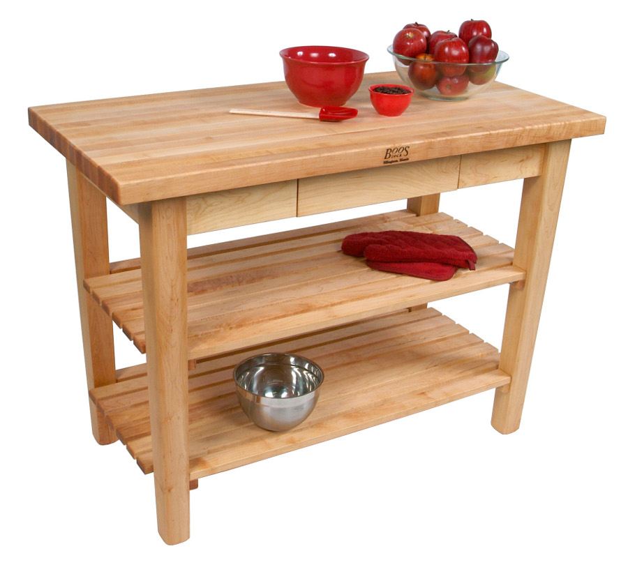 wood kitchen work table with shelves