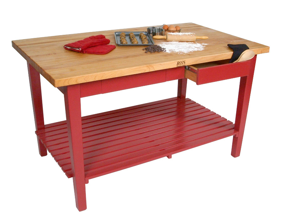 Barn Red Classic Country Work Table C6036 w Shelf, 2 Drawers