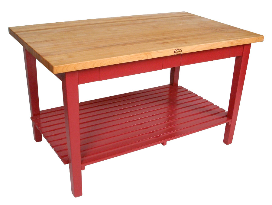 Boos butcher block work table with red base