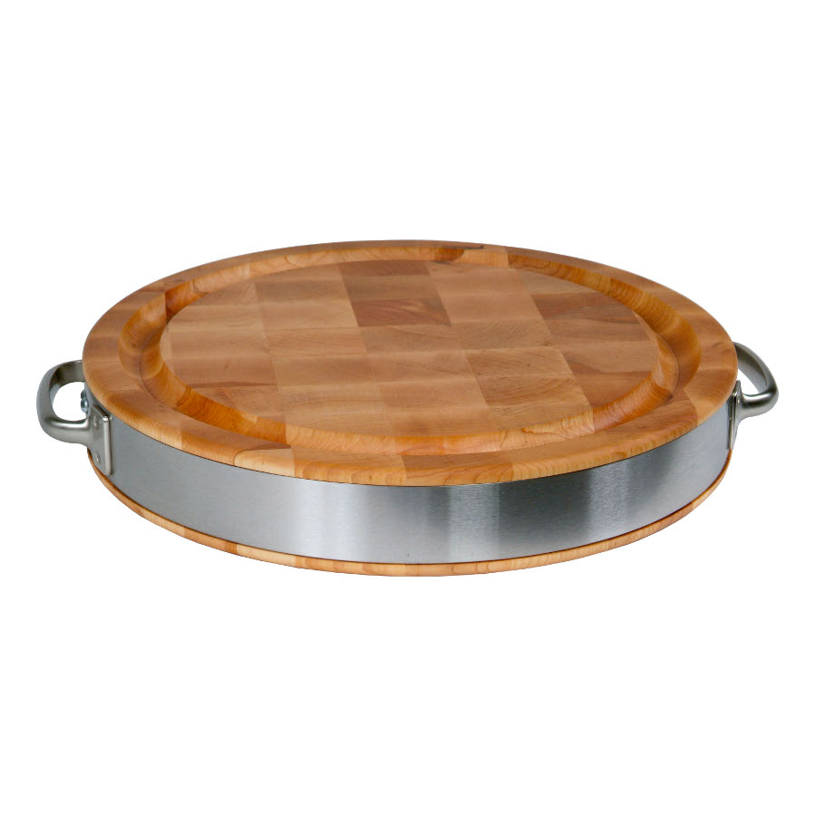John Boos Round Maple Cutting Board with SS Band and Handles CCB15FR-ST