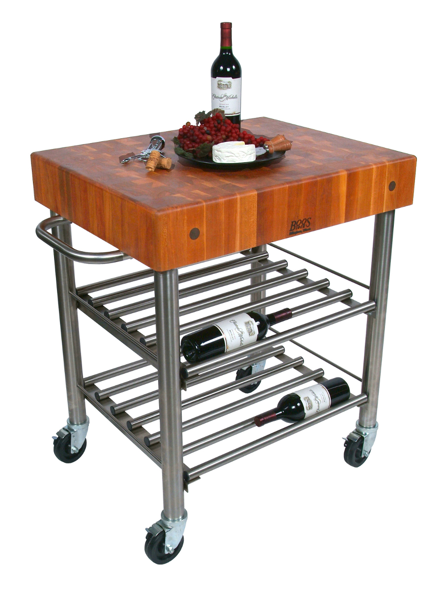 John Boos Cucina D'Amico Cherry Butcher Block Wine Cart CHY-CUCD15WC