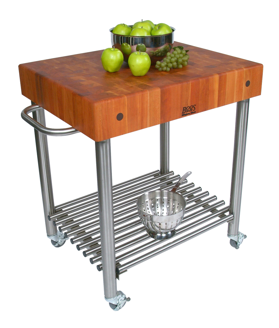 Cherry end-grain butcher block cart with steel base
