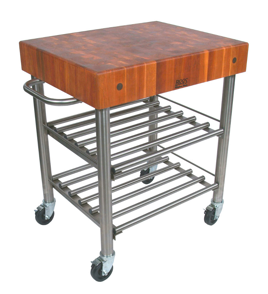 John Boos CHY-CUCD15WC Cucina D'Amico Cherry Butcher Block Wine Cart