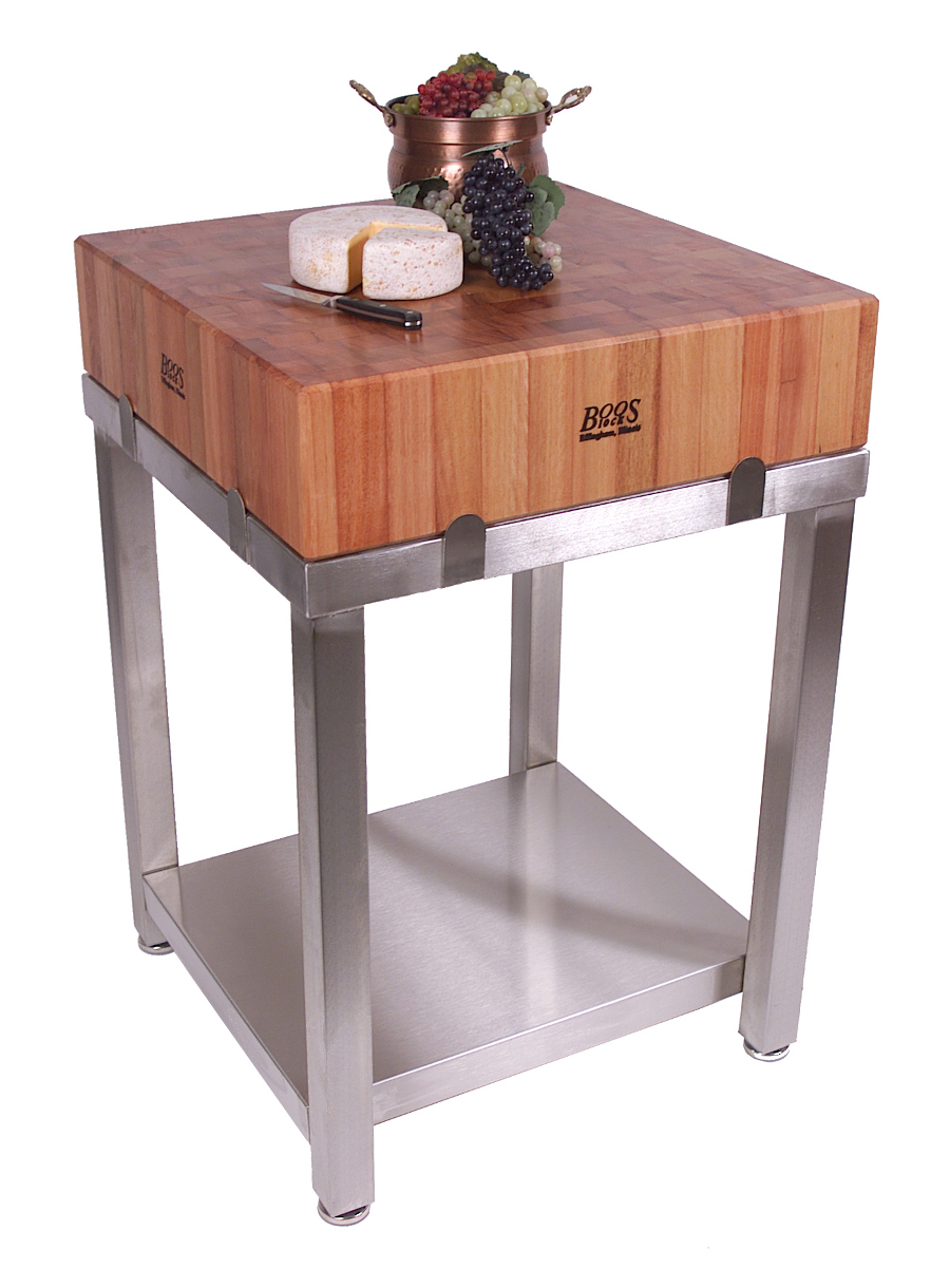Boos Cherry Cucina Laforza Butcher Block On Steel Base - Metal butcher table
