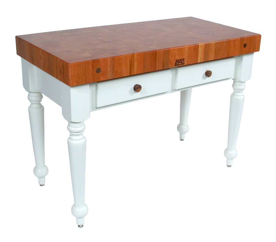 John Boos CHY-CUCR-AL Rustica Cherry Butcher Block Table