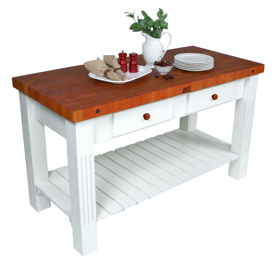 John Boos Cherry Grazzi Butcher Block Table - 2-1/4