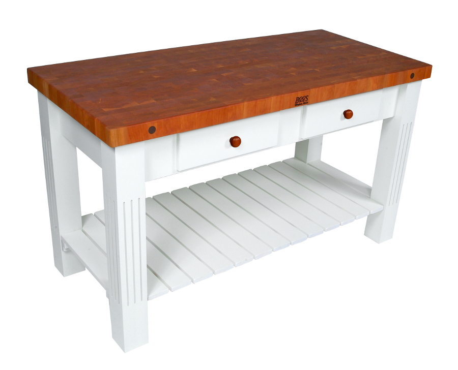 Cherry Butcher Block Table with Alabaster Base by John Boos Grazzi CHY-GRZ-AL