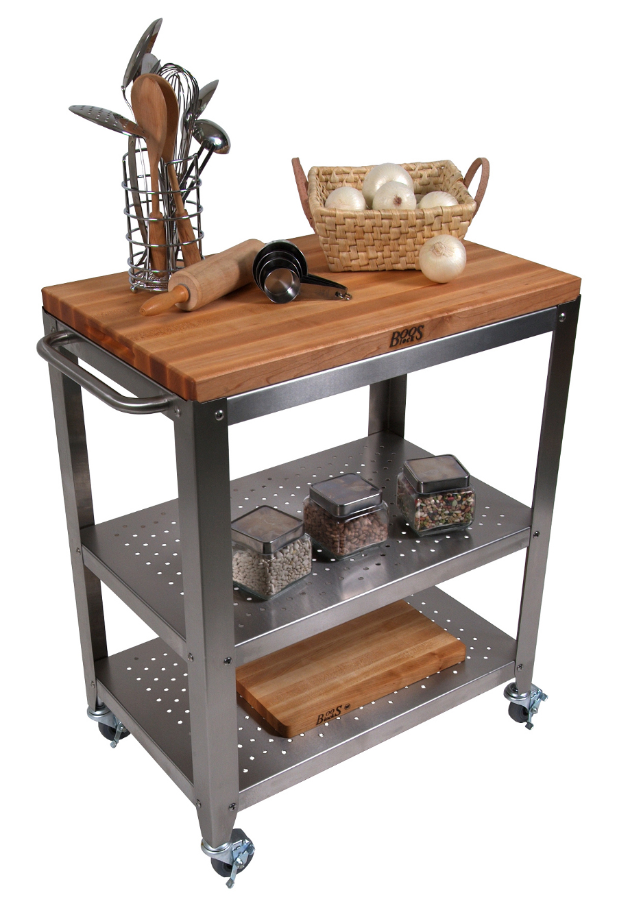 superb Rolling Butcher Block Kitchen Cart #1: Boos Cucina Culinarte Cart u2013 Removable 30x20 Maple Butcher Block