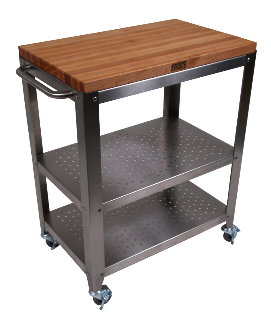 John Boos Maple Butcher Block Stainless Steel Cart CU-CULART30