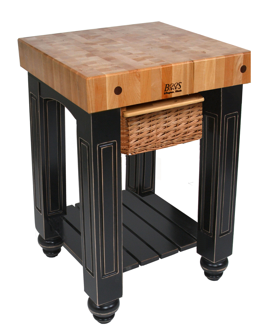 Boos Gathering Block I - 25x24x4 Maple Butcher Block Top, Basket Drawer