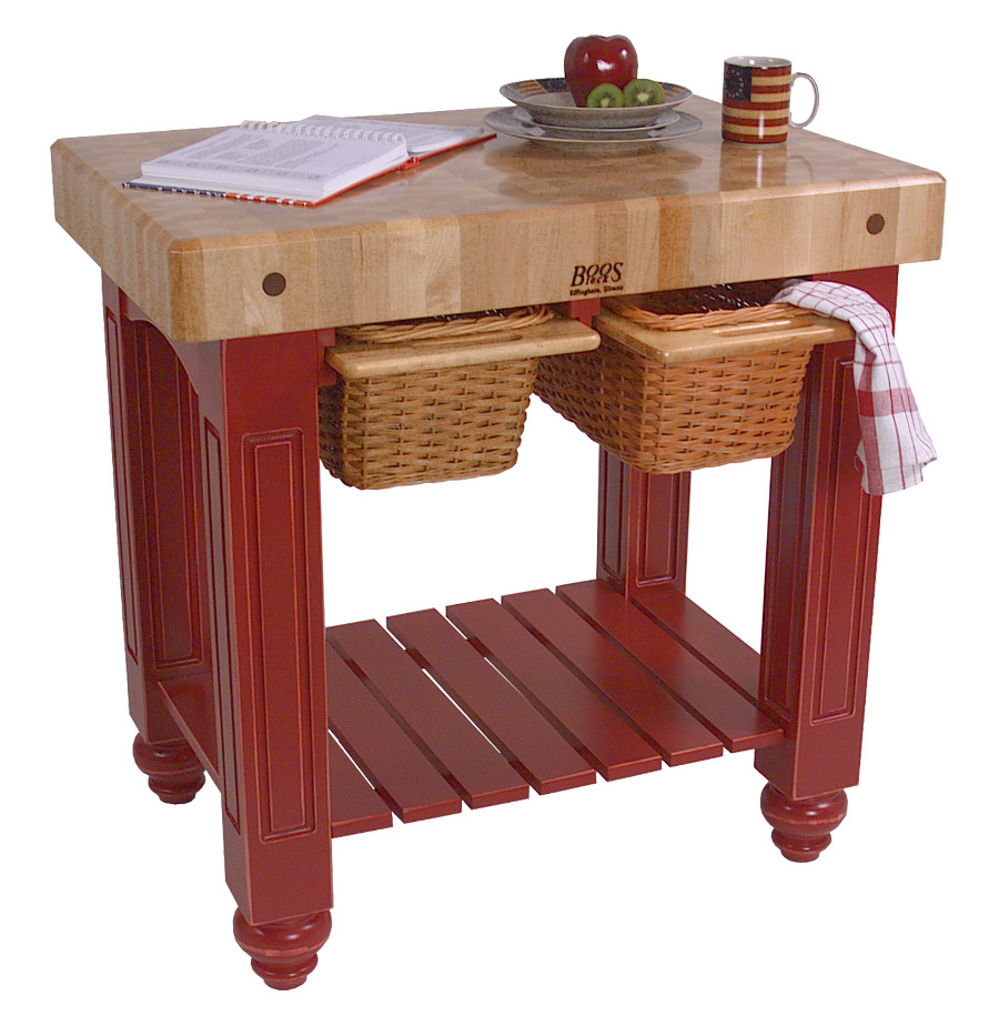 John Boos Maple Butcher Block with Colored Table Base CU-GB3624-BN