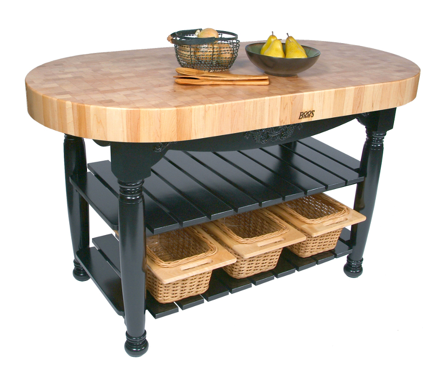 John Boos Harvest Table | Oval Butcher Block Island