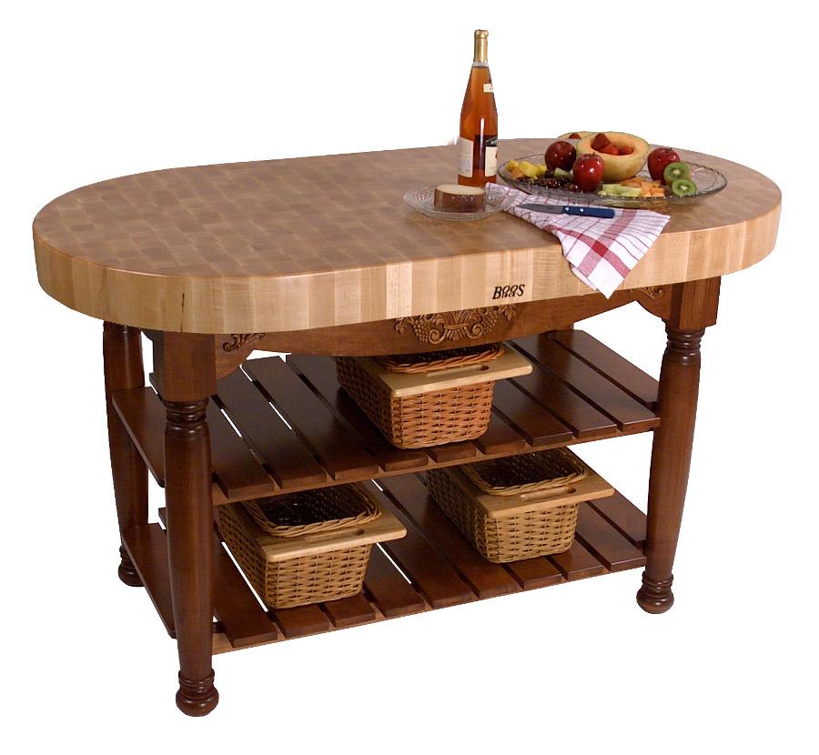 john boos harvest table | oval butcher block island