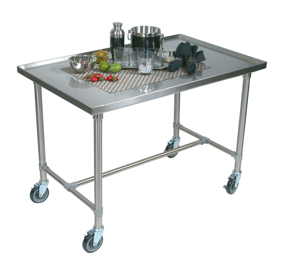 Boos Cucina Mariner Stainless Steel Serving Table/Cart   With Marine Edge