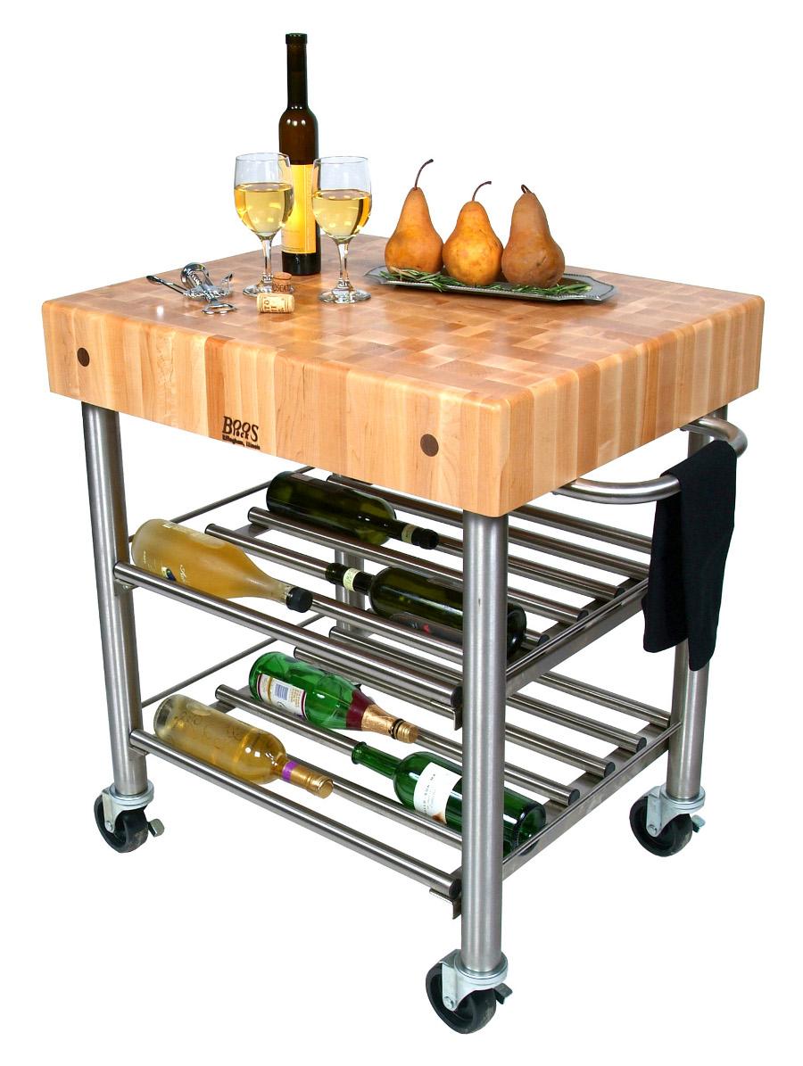 John boos cucina d 39 amico butcher block wine cart - John boos cucina ...