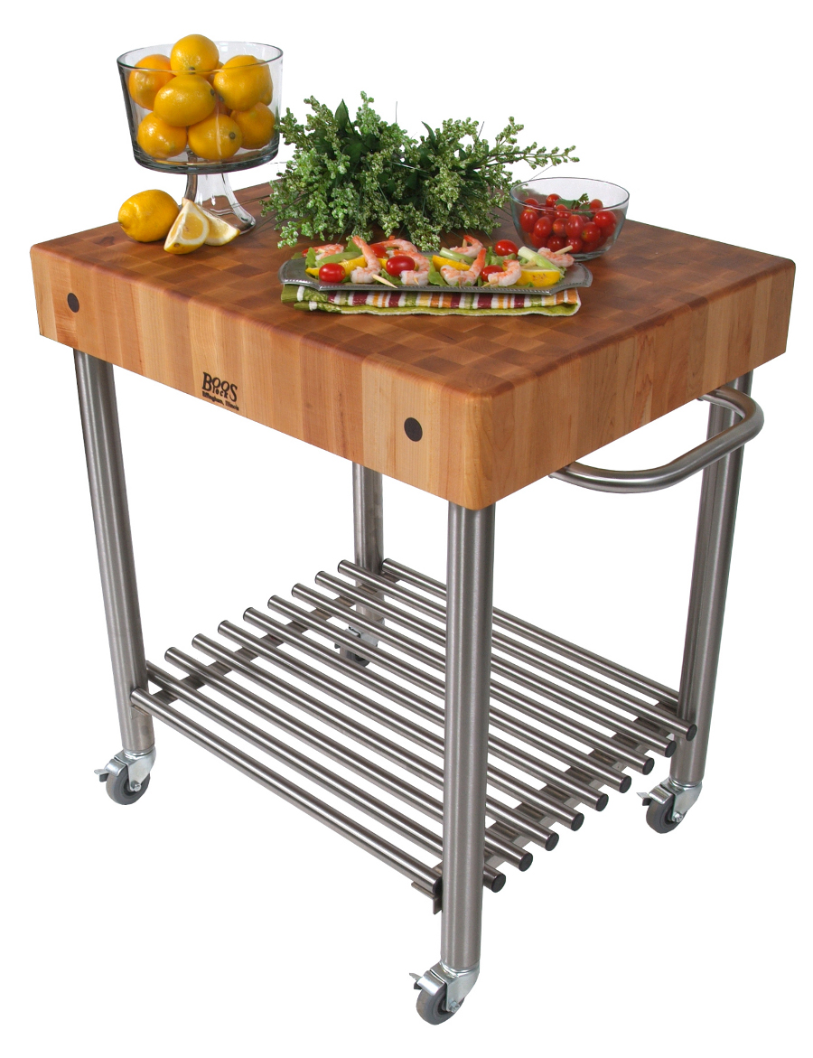 John Boos Cucina DAmico Maple Butcher Block Kitchen Cart CUCD15