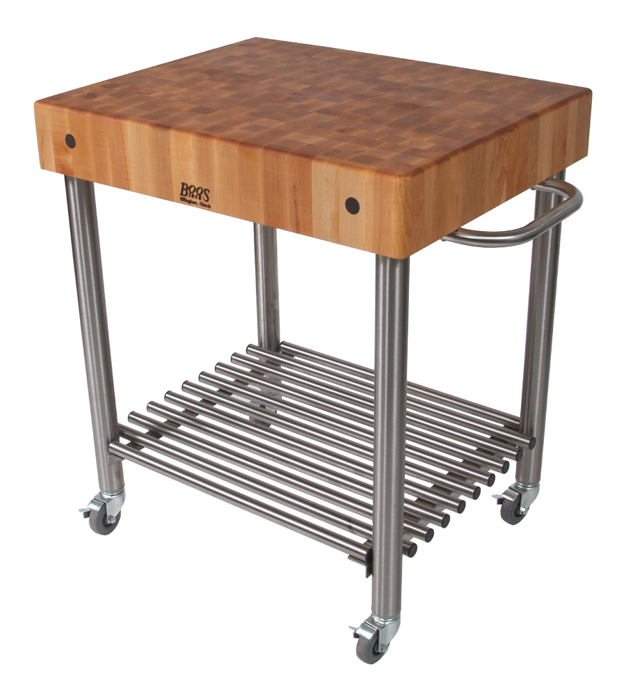 Maple Top Stainless Steel Base Wine Cart CUCD15
