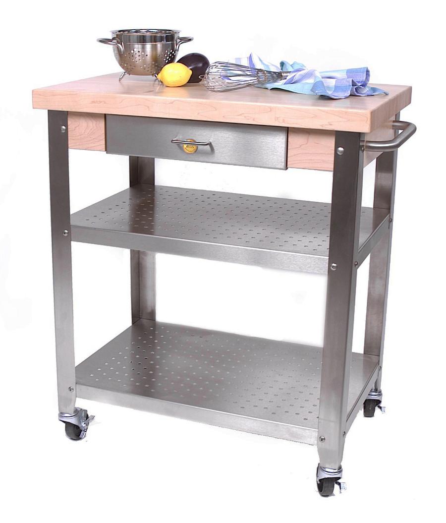 John boos cucina elegante wood steel kitchen cart - John boos cucina ...