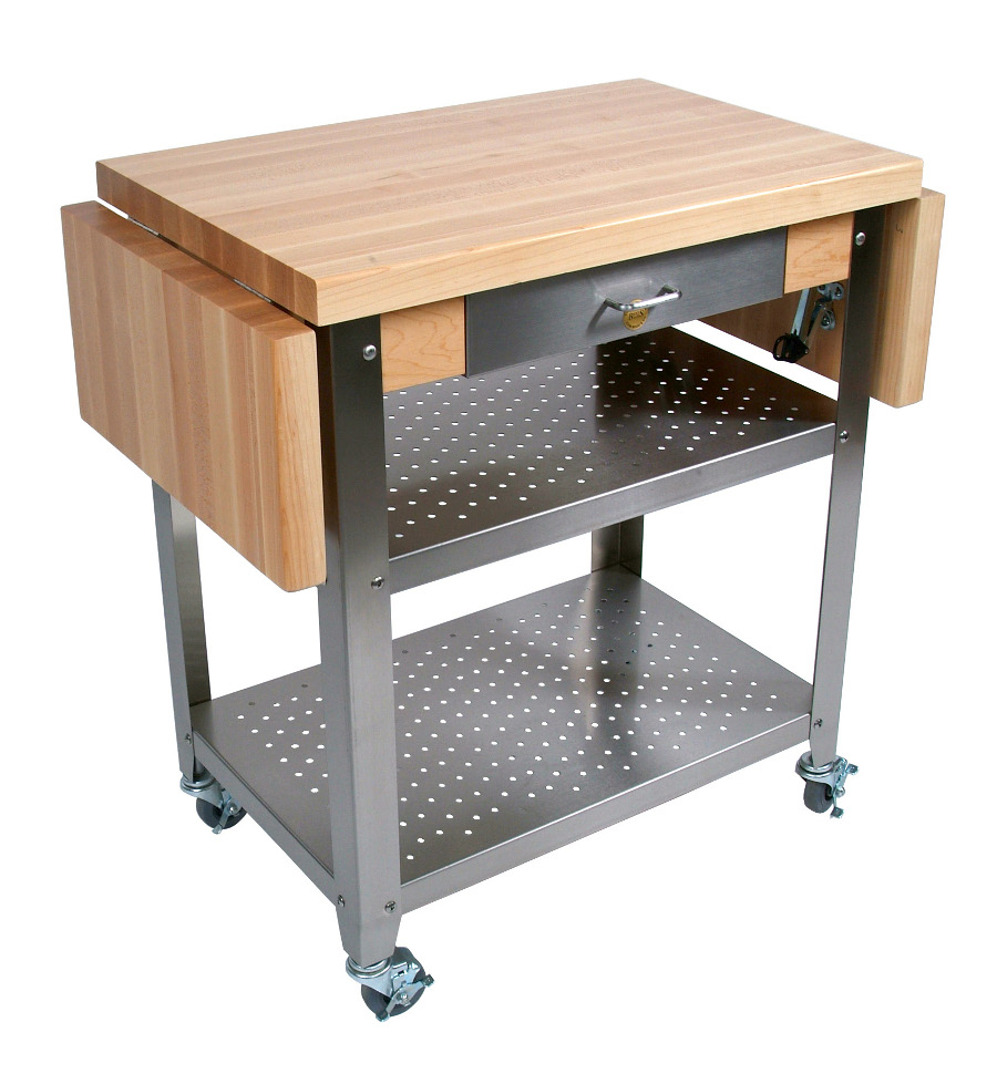 John Boos Cucina Elegante Wood-Steel Cart with 2 Drop Leaves CUCE50