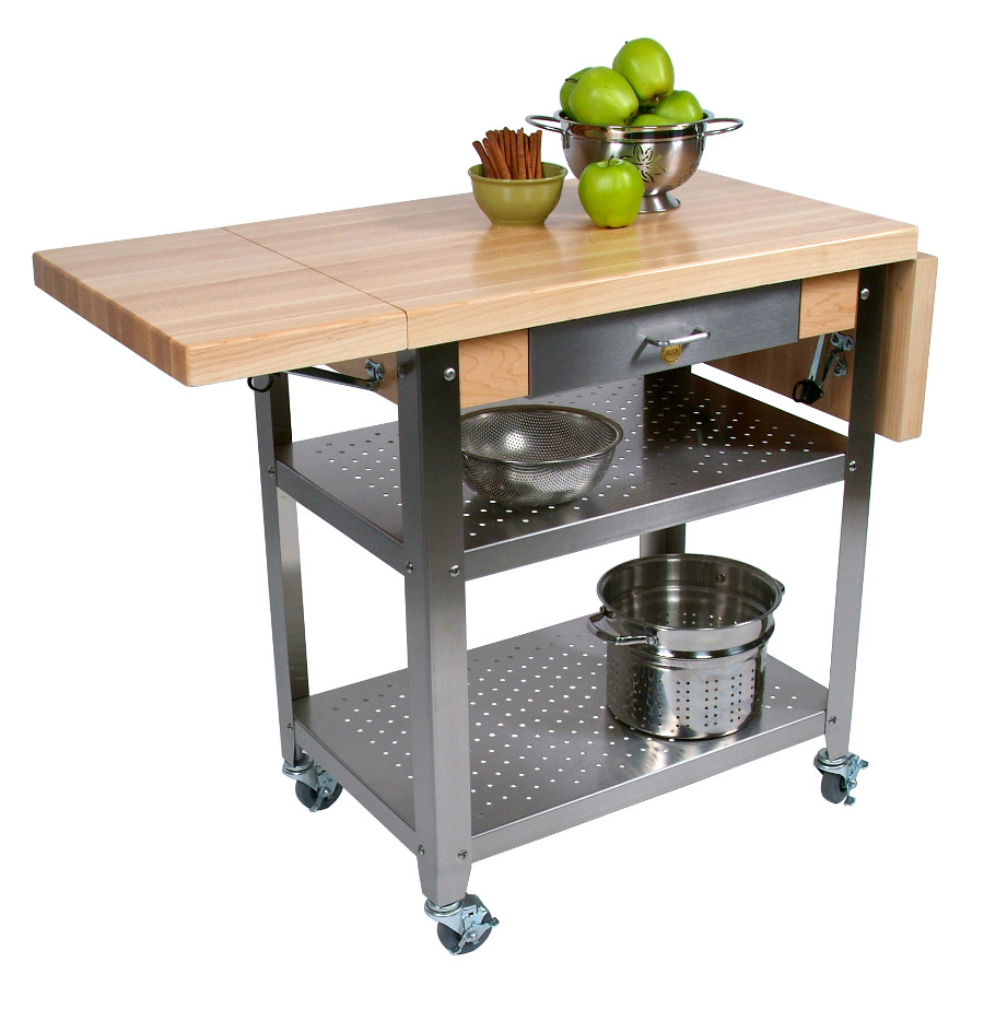 Nice John Boos CUCE50 Cucina Elegante Maple U0026 Steel Kitchen Cart W 2 Drop Leaves