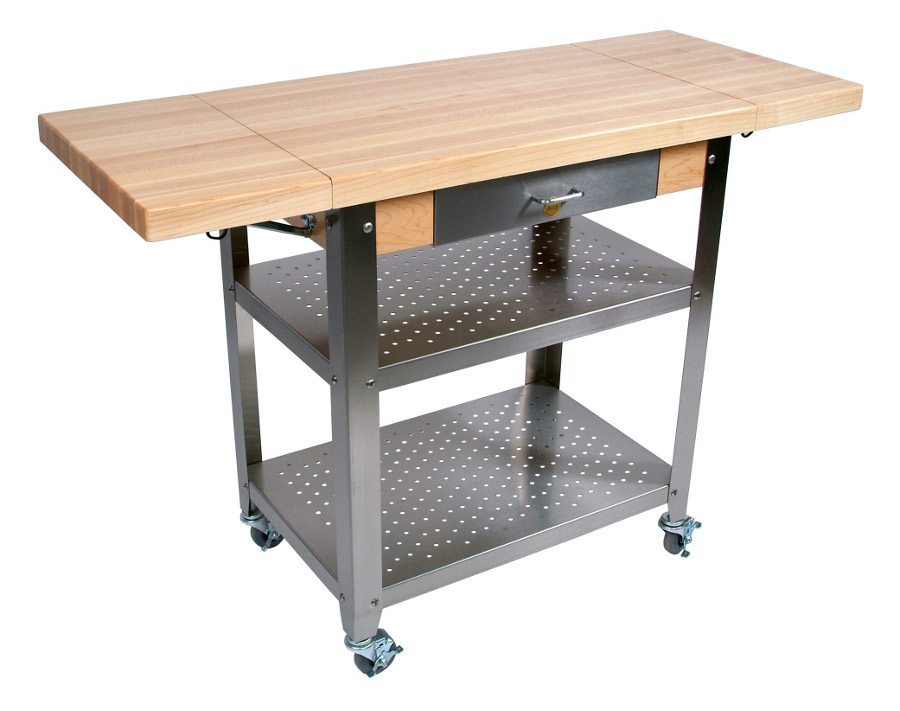 Butcher Block Kitchen Cart with 2 Drop Leaves