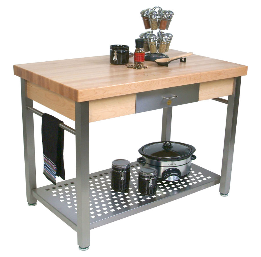 butcher block table kitchen prep tables Boos Cucina Grande Prep Station Optional Pot Rack Leaf 48