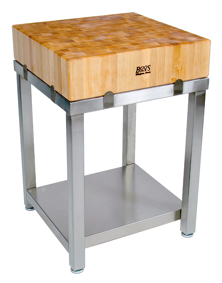 Boos Maple Cucina Laforza 6 Butcher Block On Stainless Steel 24 X24