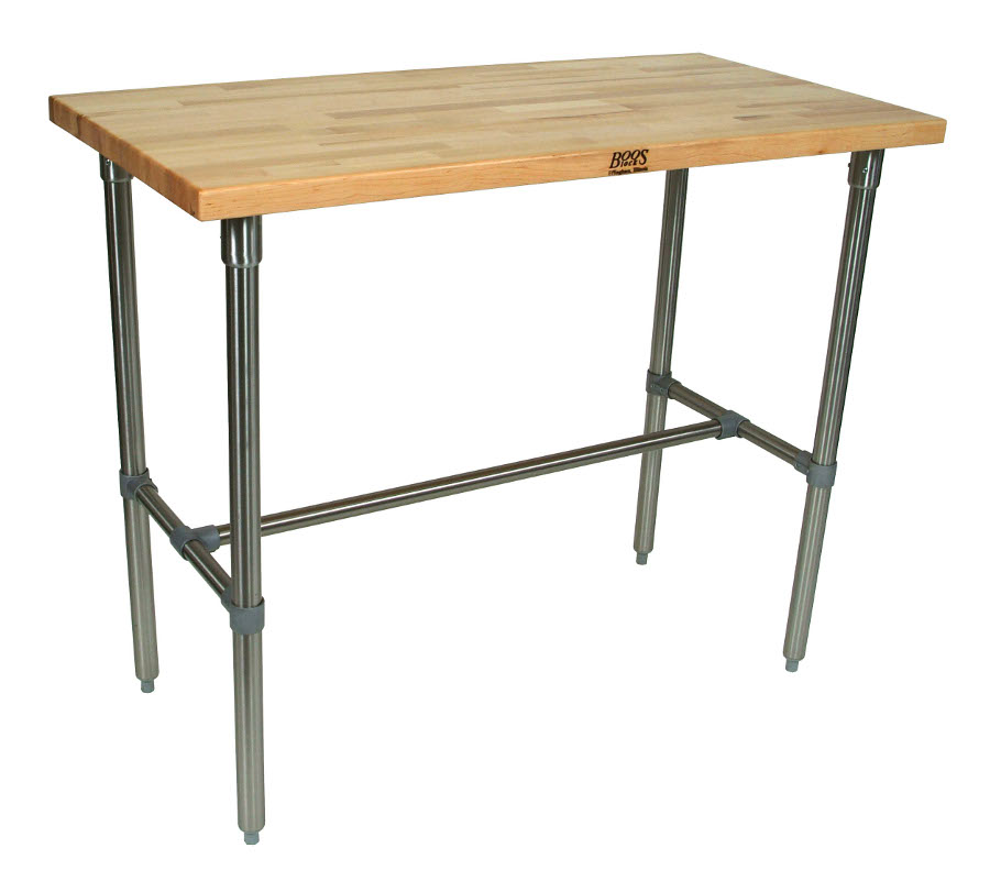 John Boos Cucina Classico Maple & Stainless Steel Table - 48