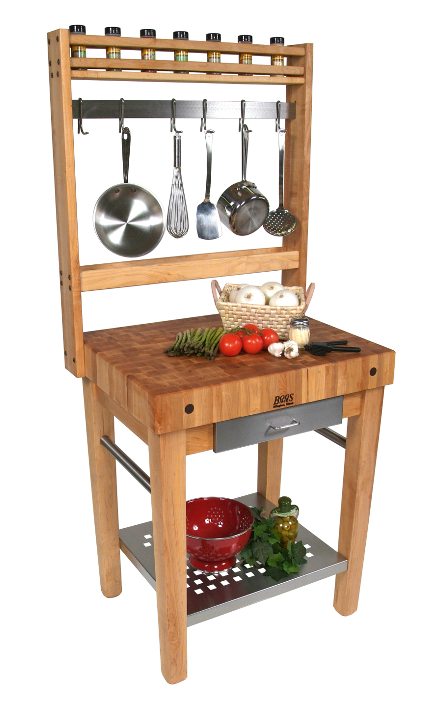 Boos Cucina Premo Kitchen Prep Station with Pot Rack - 30