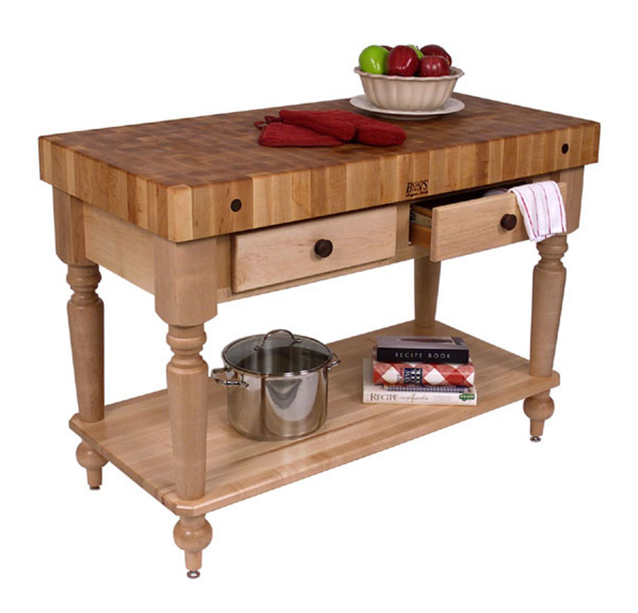 Cucina Rustica Butcher Block Table with Shelf CUCR05-SHF