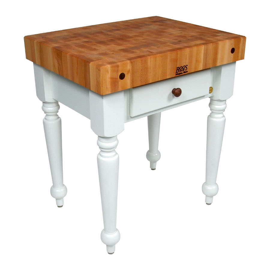 John Boos Cucina Rustica Butcher Block Table with Alabaster Base