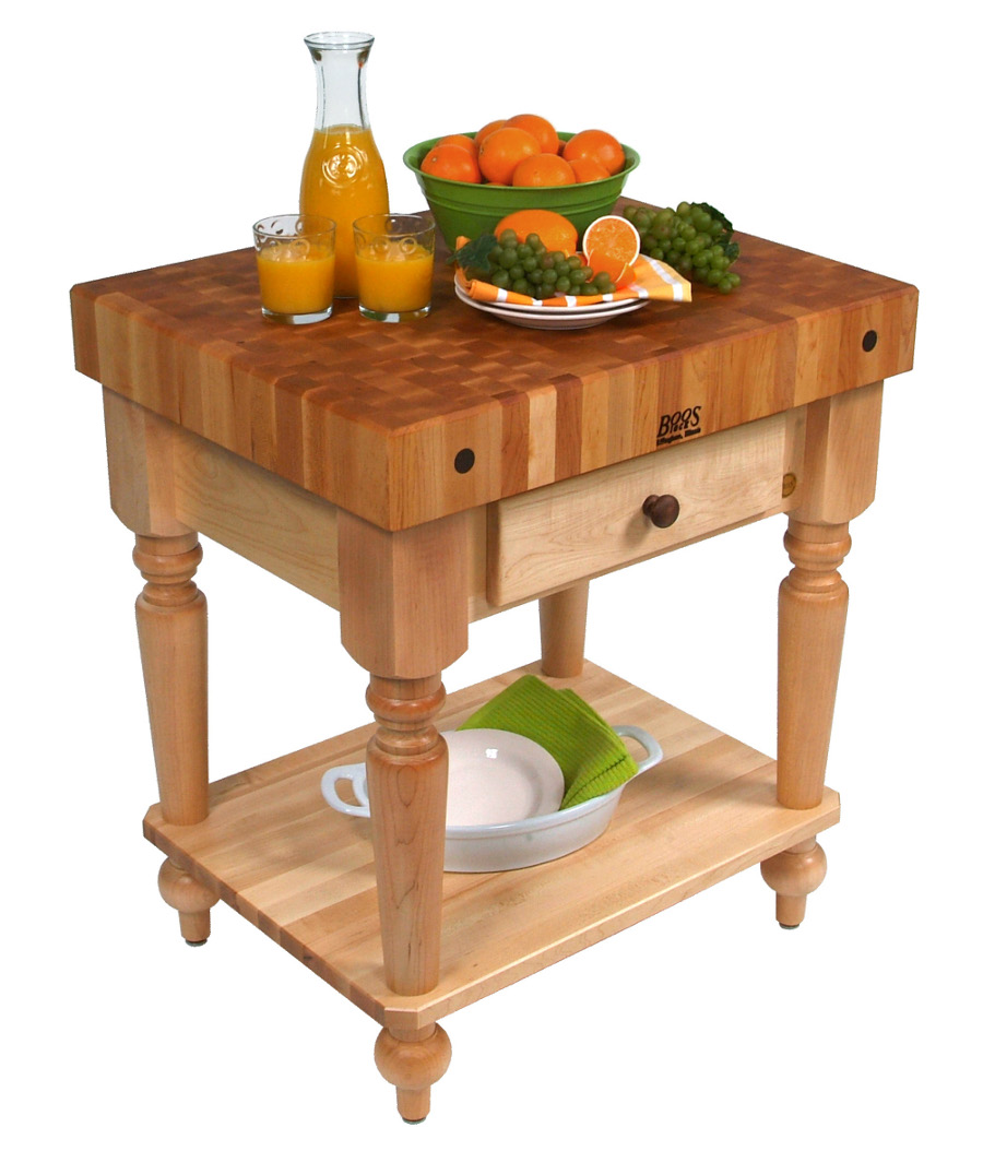 boos maple rustica butcher block with solid shelf 30 - Maple Kitchen Table