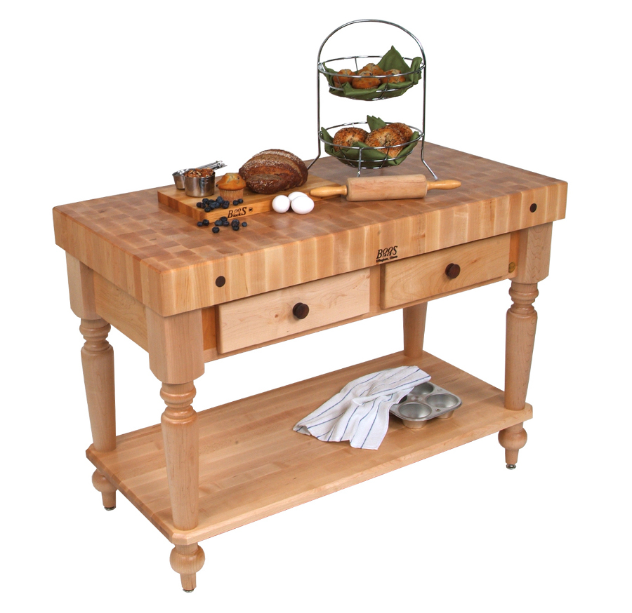 John Boos Cucina Rustica Butcher Block Table with Shelf CUCR05-SHF