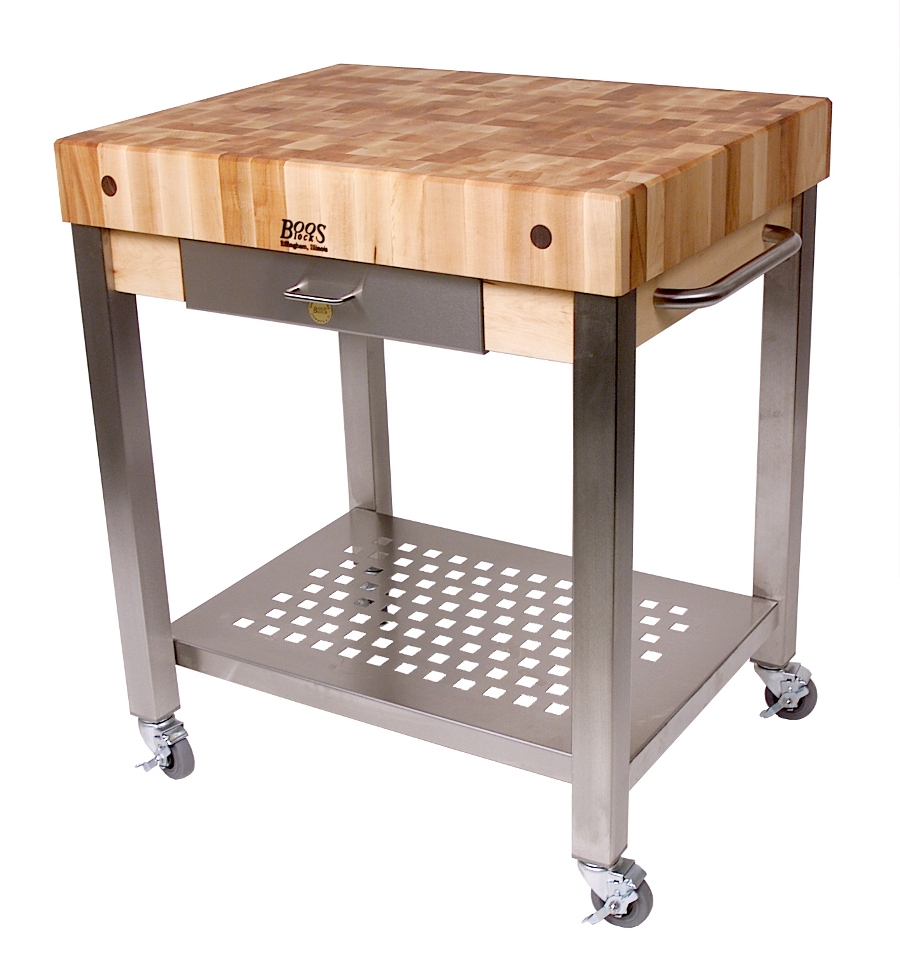 superior Rolling Butcher Block Kitchen Cart #2: Boos End-Grain Cucina Technica Cart - 4u0026quot; Butcher Block Top, Two Sizes