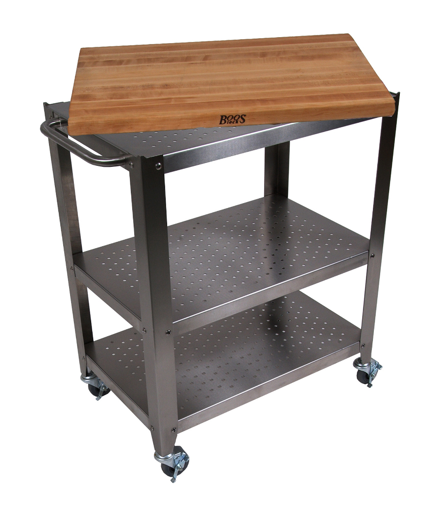 Removable cutting board on stainless steel kitchen cart