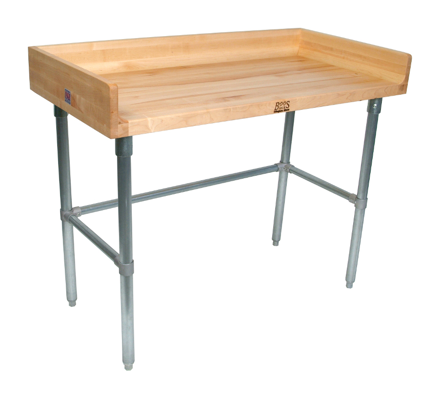 John Boos Model DNB Maple Top Baker's Table with Riser & Galvanized Base
