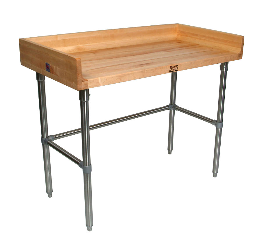 John Boos Bakers Table Model DSB with Maple Top and Stainless Steel Base