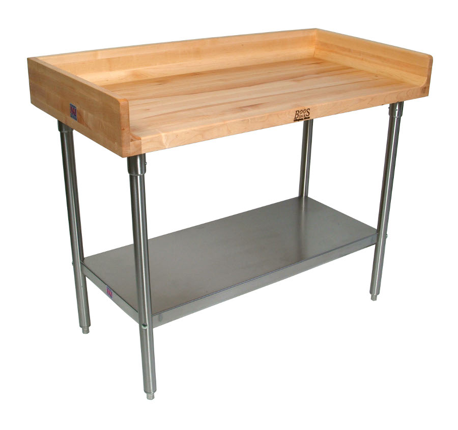 John Boos Maple Top Work Table With Riser U0026 Stainless Steel Base U0026 Shelf    Model