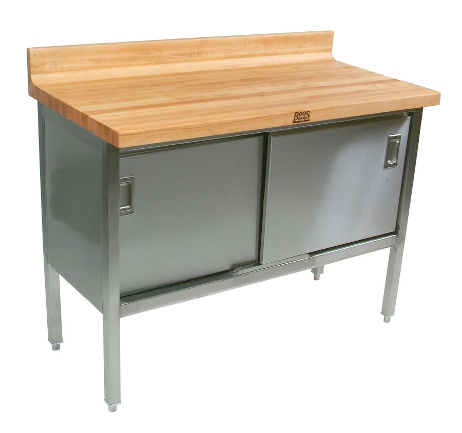 John Boos Maple Top with Riser on Stainless Steel Enclosed Base with Sliding Doors