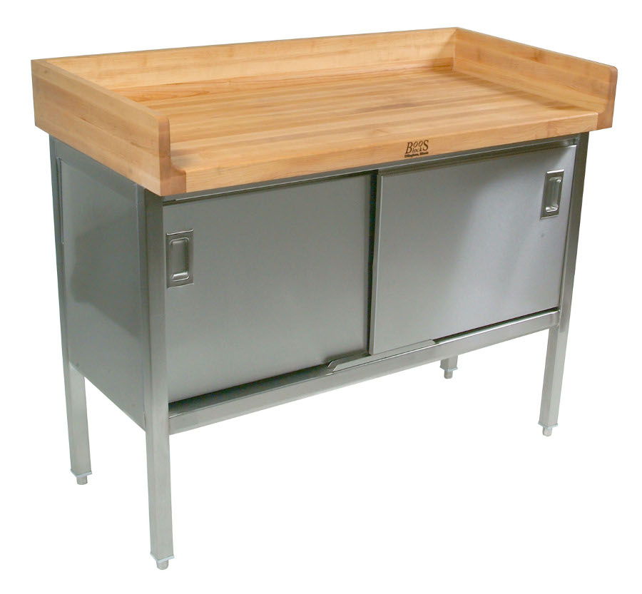 John Boos ET3S01 - Maple Wood Top with Full Riser atop Stainless Steel Base Cabinet with Sliding Doors