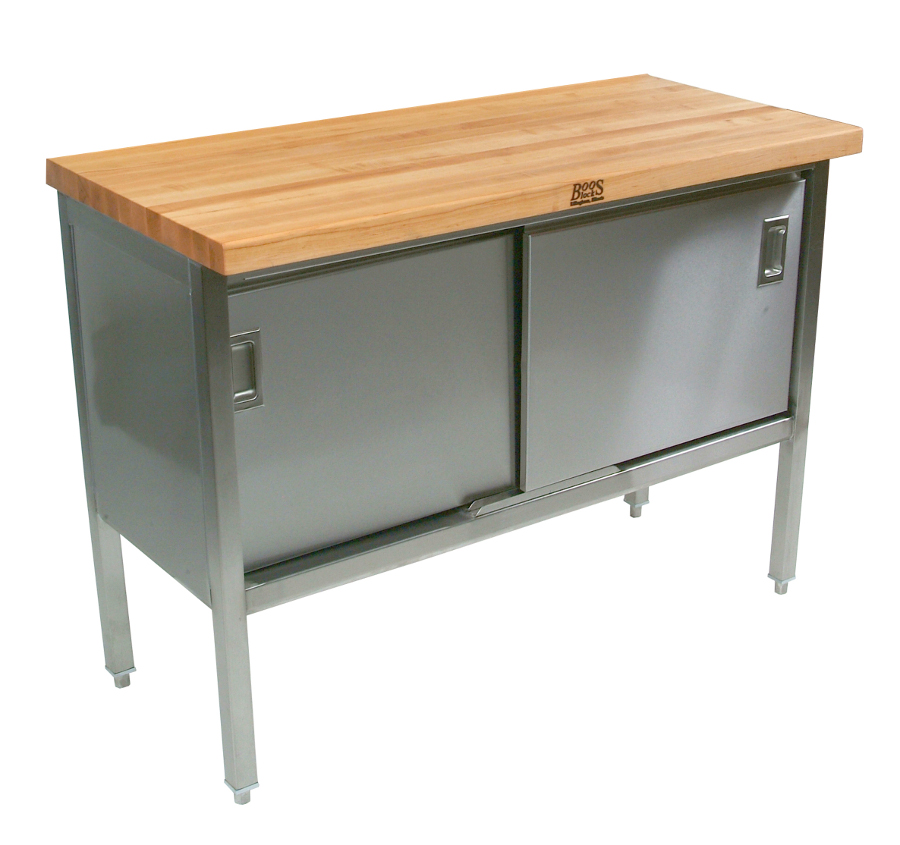 John Boos stainless steel base cabinet with sliding doors and maple edge-grain top