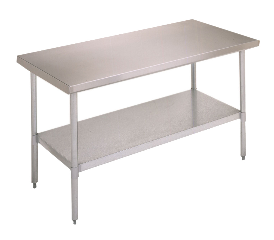 Boos Economy Steel Table   18 GA Stainless Top, Galvanized Legs U0026 Shelf
